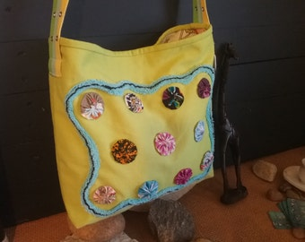 Handbag, Market Tote, lime green yo-yo and chenille upcycled Shoulder bag