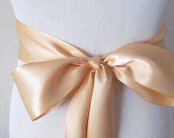 Light Gold Ribbon Sash / Double Faced Ribbon Sash / Bridal Sash  /Bridal  / Light Gold
