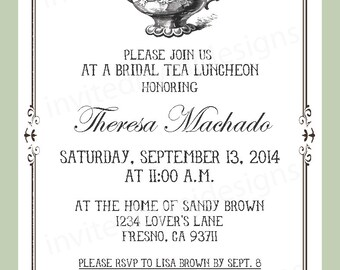 Bridal Tea Luncheon invitation, teapot, bridal shower, elegant