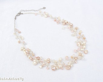 White peach pink freshwater pearl necklace with crystal and stone on silk thread, wedding jewelry, bridal necklace