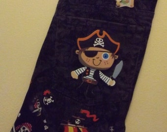 Unique repurposed fully lined  pirate stocking!