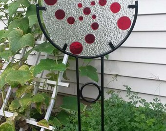 Glass Garden Art With Stand  //  Handmade // Great As a Gift