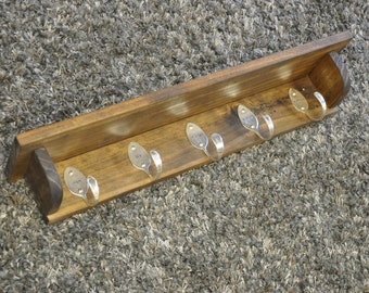 5 Personalized Spoon Hooks Coat Rack Shelf in Any Finish Recycled Silverware