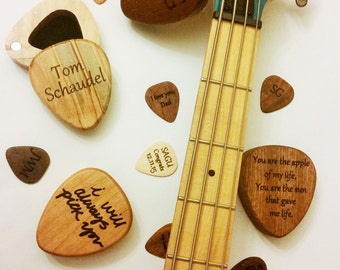 Personalized Wood Guitar Pick Box and Pick, Laser Engraved Custom Guitar Pick Case, pick holder, Ring Box, Musicians Gift, gift for him