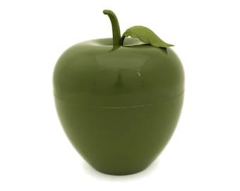 1970s Avocado Green Plastic Apple Ice Bucket. Retro French Fruit Bar Decor. Cocktail Party Barware.