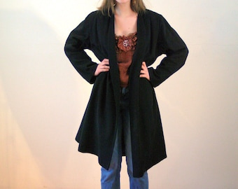 50s Black Swing Coat, Forstmann Wool 1950s Elegant Evening Wear Vintage Midcentury Opera Coat, Fits Small to Medium