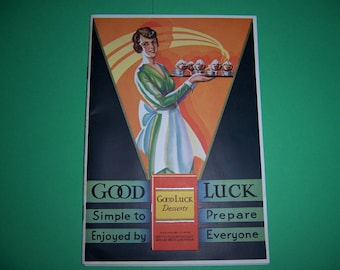 Vintage Recipe Booklet, Cookbook,  Pamphlet, 1930's, Good Luck Desserts, Good Luck Food Co., Rochester NY, 1933