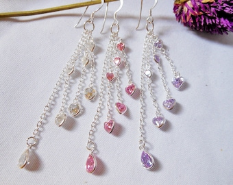Gorgeous Modern Women Multi Silver Chain Drop Earrings With Faceted White,Violet,Pink CZ,Wedding Earring,Pierced Earring,Personalized Gifts