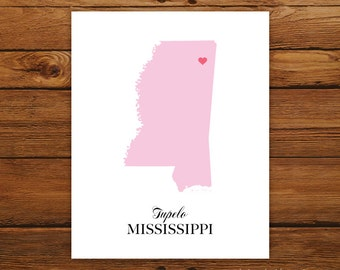 Mississippi State Love Map Silhouette 8x10 Print - Customized