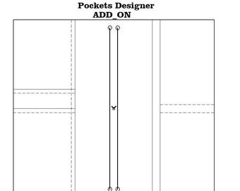 Add -ON Extra internal pocket, 3  Vertical or 2 HORIZONTAL pockets for Fabric Cover Fauxdori, Midori, Hobonichi cover