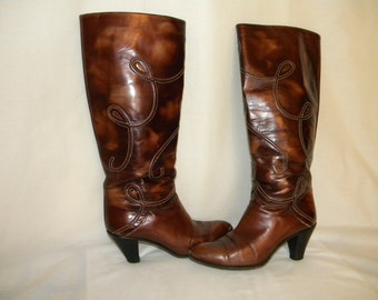 Knee high 1980s brown boots