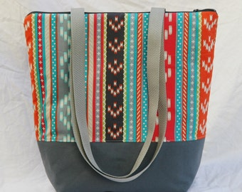 Aztec Stripe- Insulated Lunch Bag-Tote-Eco-Friendly and Washable-Water and Mildew Resistant Interior -Extra Large-Tall Size