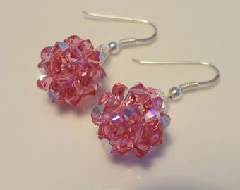 Pink Swarovski Crystal beaded ball earrings