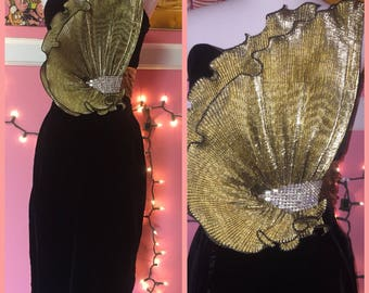 80s black velvet wiggle dress with gold detail