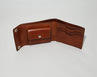 Leather Trifold Men's Wallet/Women's Wallet/Short wallet/Full Grain Vegetable Tanned Leather/With Coin Purse/Customized/Groom's Men Gift