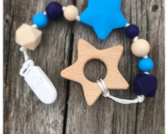 Shooting Star Silicone And Wood Teether