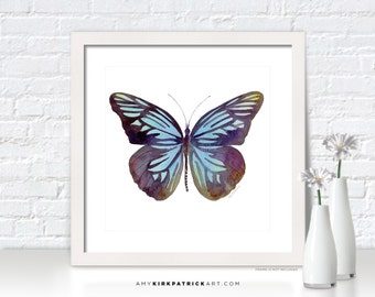 Blue Butterfly Painting, Butterfly Wall Art, Butterfly Print, Original Butterfly Watercolor, Butterfly Greeting Cards, 45 Pareronia Tritaea