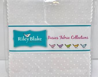 "5"" Stacker Tone on Tone White Swiss Dot by Riley Blake Designs- 42 Fabrics"