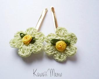 Kawaii Rose Hair Pins Mint 2 pc.