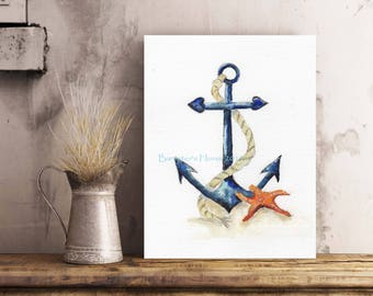 ANCHOR & STARFISH, fine art, Giclee Watercolour Painting Print. Archival quality inks