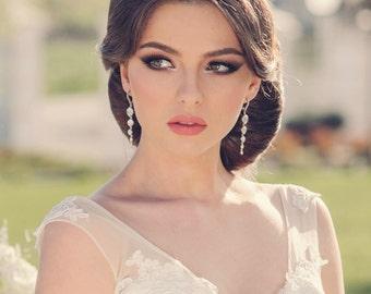 Long crystal earrings, wedding jewelry, bridal crystal earrings, crystal drop earrings, bridal jewelry