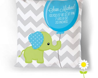 Elephant Birth Stats Cushion Cover - Personalized Birth Announcement Throw Pillow w/ Baby Stats - Custom Cushion - Baby Gift - Nursery Decor