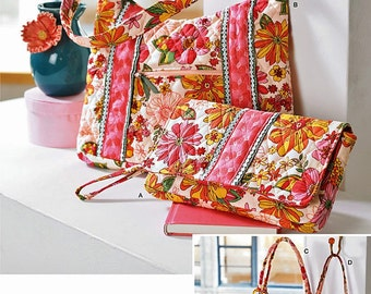 Prequilt Cloth Bag Pattern, Clutch Bag Pattern, Tote Bag Pattern, Cloth Bags for Prequilted Fabrics, Simplicity Sewing Pattern 2201