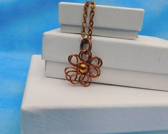 Single Pearl Necklace Flower Jewelry Gift for Her Simple Pendant Artisan Crafted Artistic Handmade Copper Wire Sculpted Wearable Art Jewelry