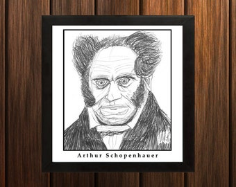 Arthur Schopenhauer - Sketch Print - 8.5x11 inches - Black and White - Pen - Caricature Poster