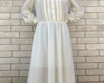 Vintage 70's Cream White Victorian Inspired Mock Neck with Lace Detail Dress and Elastic Waist