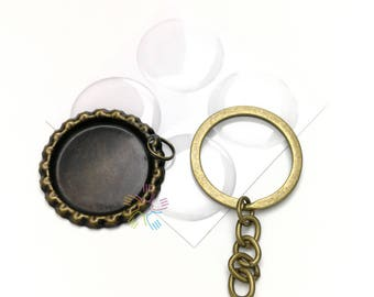 50 Bottle Cap Key chain Kit - Flattened Flat Antique Bronze Linerless Bottle Caps- Clear Round Epoxy Stickers- keychain rings
