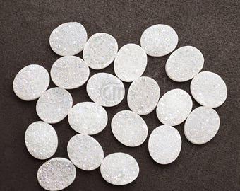 White Druzy, Druzy Cabochon, 12x10mm Oval Shaped Druzy, Cabochon, Druzy Stone, Jewelry Making Supplies (WZ-80015)