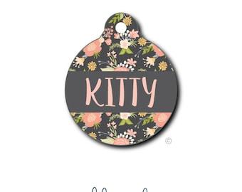 Vintage Flowers Pet Tag - Pet ID Tag - Dog Tag - Cat Tag - Lunch Box Tag - Bag Tag - Luggage Tag - Personalized Vintage Floral Pet Tag