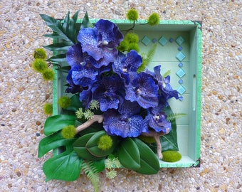 table 3D blue vanda Orchid - purple artificial flowers