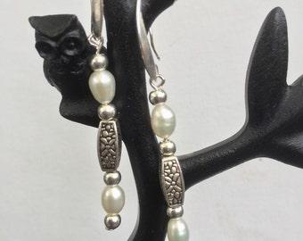 Pearl and Tibetan silver earrings