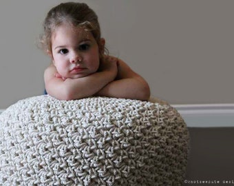 CROCHET PATTERN - Cotton Rope Pouf - Instant Download (PDF)