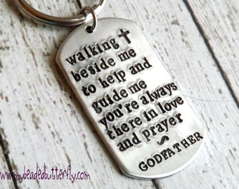 Godfather gift-Godparent gift-Godfather keychain-religious gift-personalized key chain-baptism gift-christening gift-confirmation
