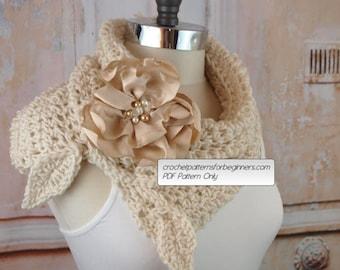 Crochet Cowl Pattern Crochet Scarf Pattern Flower Split Cowl Easy Crochet Pattern Wedding Crochet Pattern Neck Warmer Scarf Infinity Scarf