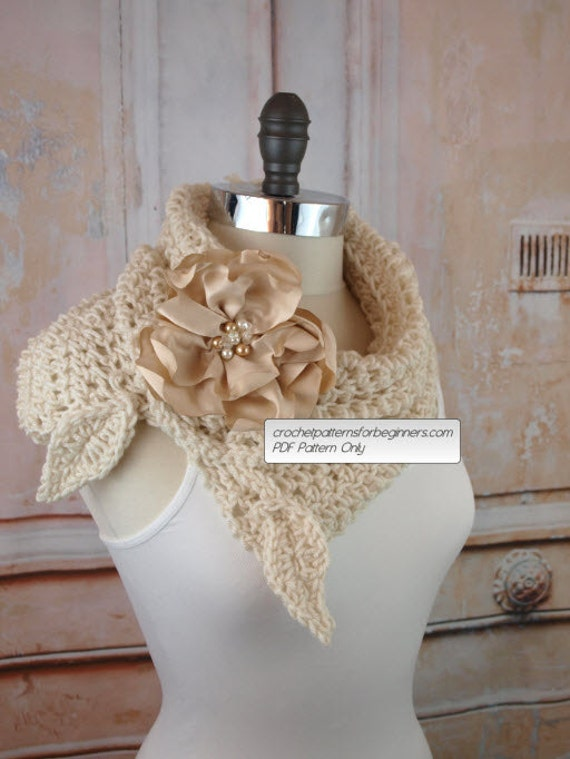 Crochet Cowl Pattern Crochet Scarf Pattern Flower Split Cowl