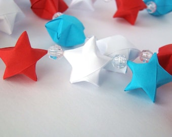Patriotic Garland - Red, White, and Blue Lucky Stars