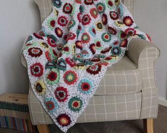 3D Flower Granny Square Blanket