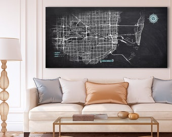 MIAMI Canvas Map Panoramic Wall Art Chalkboard City Map Canvas Poster