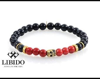 SALE! Mens bracelet, mens skull bracelet, Men's onyx bracelet, men beaded bracelet, bracelet for men, mens gift,mens jewelry, cuff bracelet