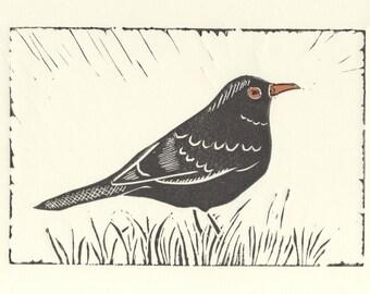 Blackbird lino print greetings card