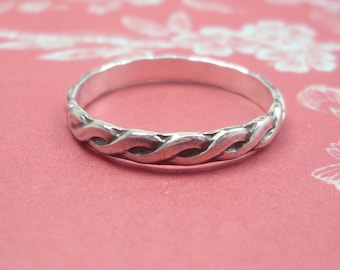 Sterling Silver Stacking Ring - Braided Band Pattern