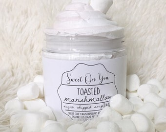 Toasted Marshmallows, Sugar Whipped Soap, Sugar Scrub, Body Polish, Exfoliate, Bath and Beauty, Soap, Whipped Soap, Beauty, Dessert Beauty