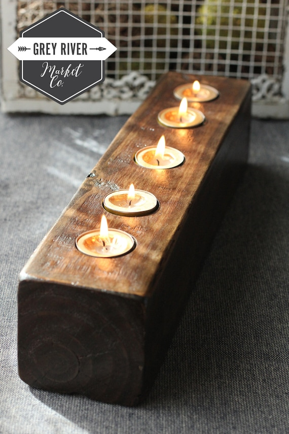 & Wooden Candle Holder / Reclaimed Wood / Long Wooden Tea Light