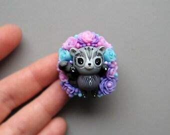 Cute small Succulent Raccoon figurine