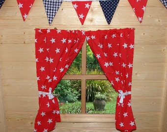 Red Stars Playhouse Curtains