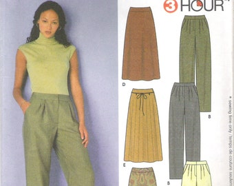 2000 Sewing Pattern - Simplicity 9479 relaxed Pants or Skirt Size 8-14 Uncut, Factory Folded